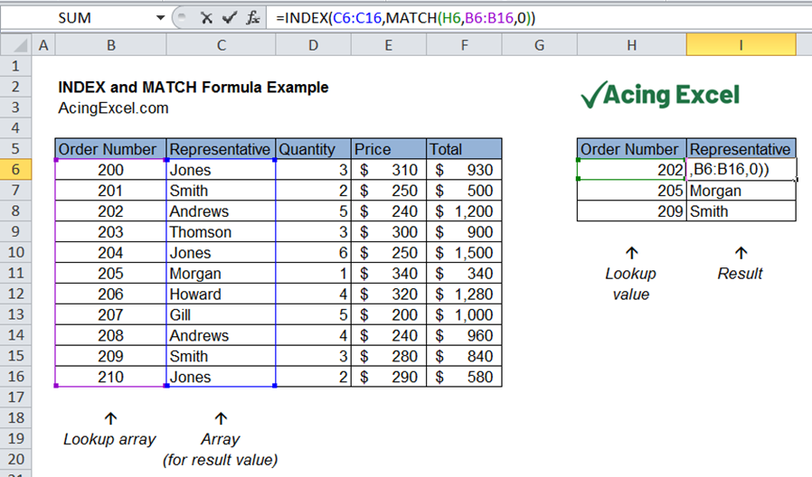 Excel INDEX MATCH formula example