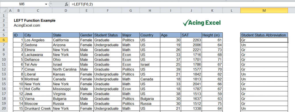 Excel LEFT function example