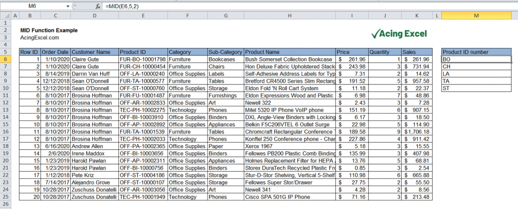 Excel MID function example
