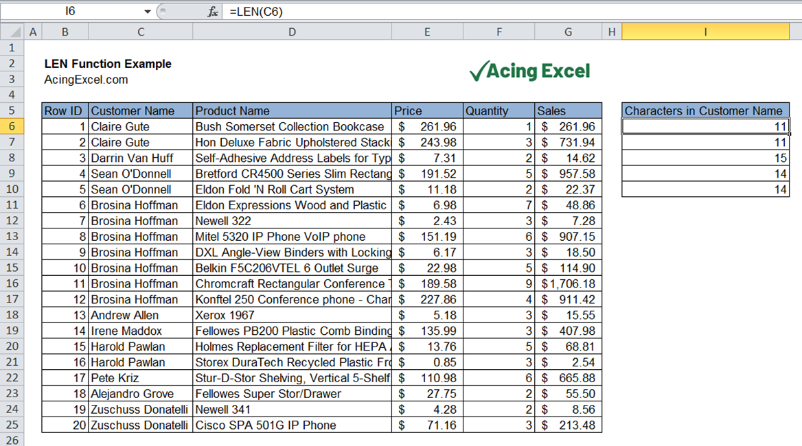 Read more about the article Excel LEN function
