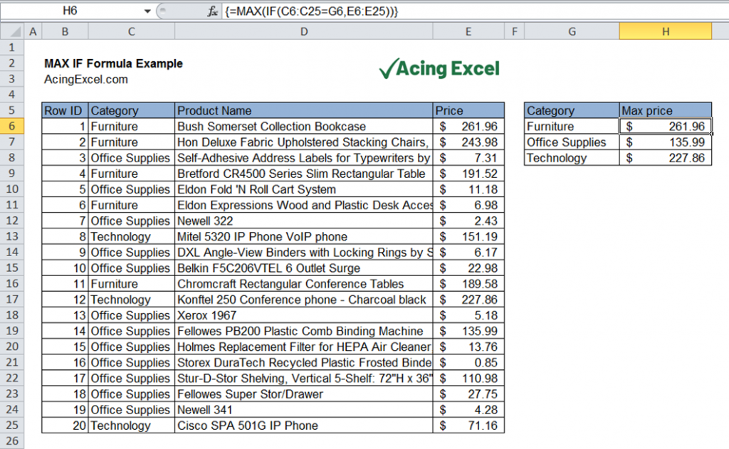 Excel MAX IF formula example