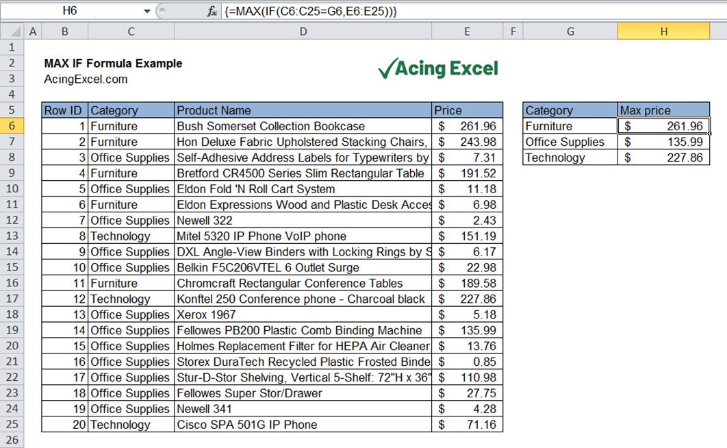 Excel MAX IF formula