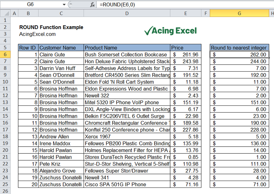 Read more about the article Excel ROUND function