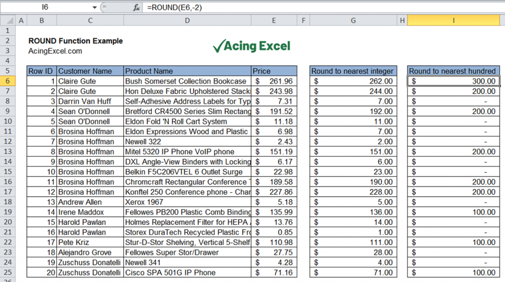 Excel ROUND function example nearest hundred