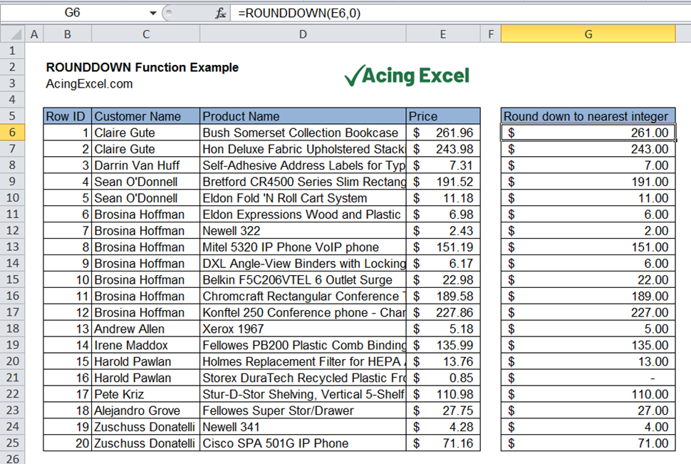 Read more about the article Excel ROUNDDOWN function