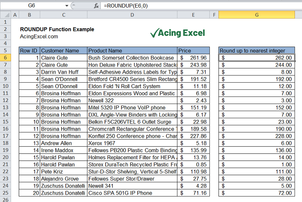 Read more about the article Excel ROUNDUP function