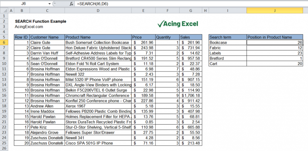 Excel SEARCH function example