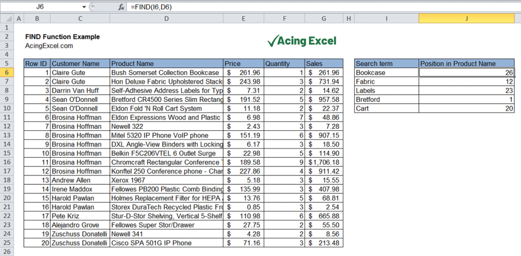 Excel FIND function example