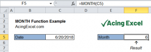 Read more about the article Excel MONTH function