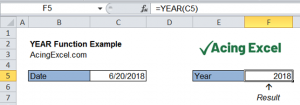 Read more about the article Excel YEAR function