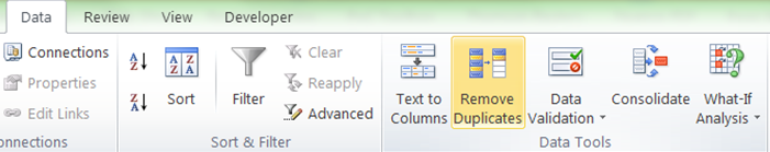 Excel remove duplicates command