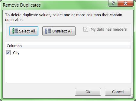 Excel remove duplicates command menu