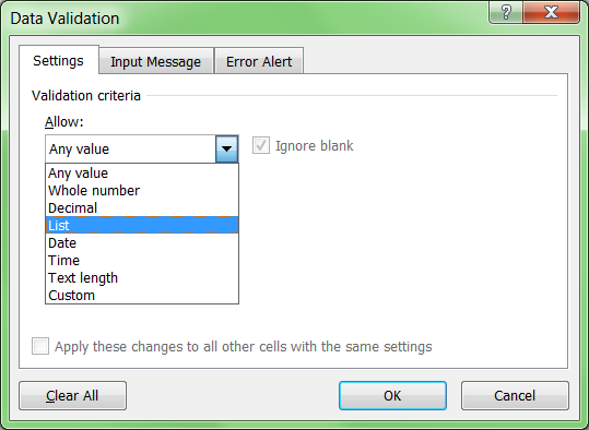 How to create a drop down list in Excel - Step 3 - Select List from the Allow menu
