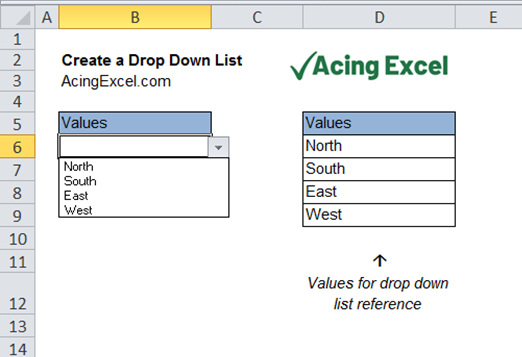 How to create a drop down list in Excel - Step 5 - drop down menu complete