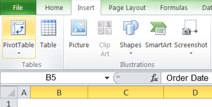 How to create a Pivot Table - Insert - Pivot Table