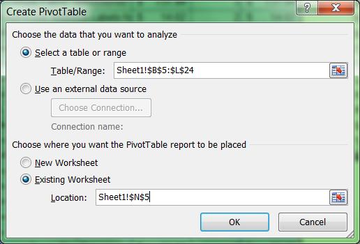 How to create a Pivot Table - menu