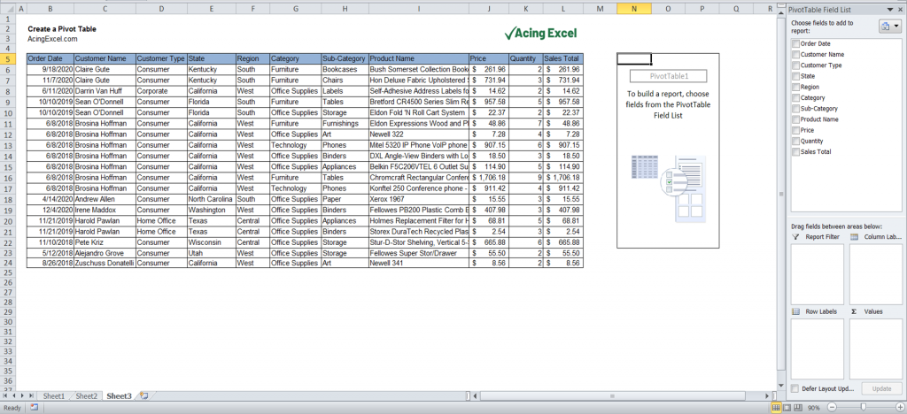 How to create a Pivot Table - Field List