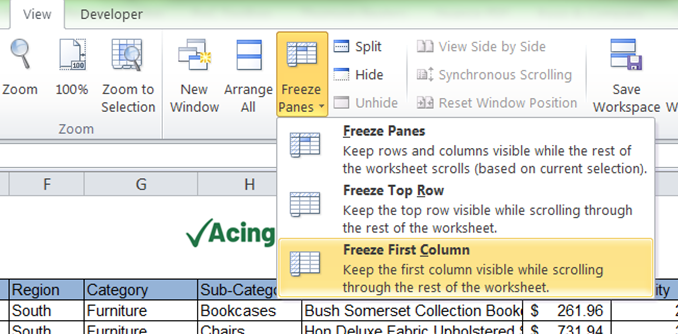How to Freeze First Column in Excel