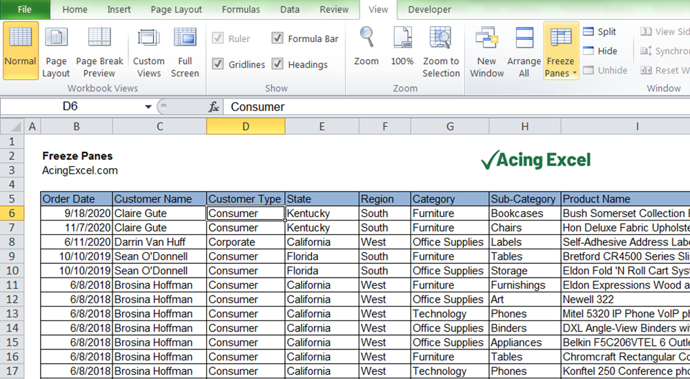How to Freeze Panes in Excel - Select View and select Freeze Panes