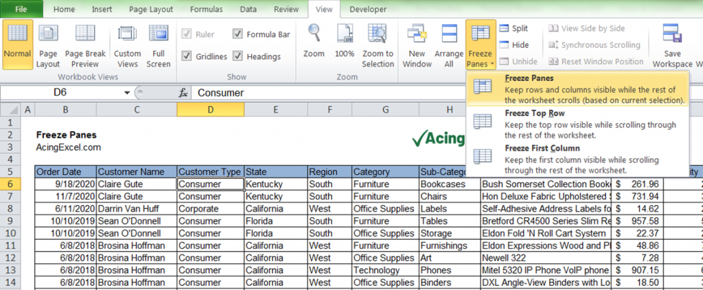 How to Freeze Panes in Excel - Freeze Panes again