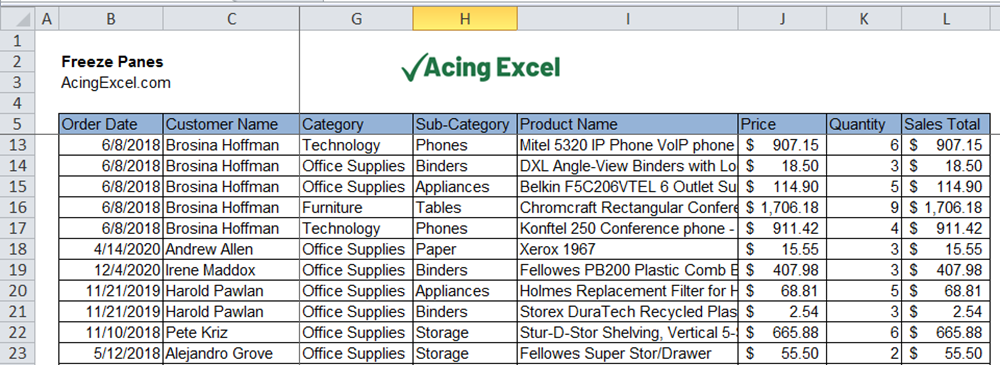 How to Freeze Panes in Excel - complete