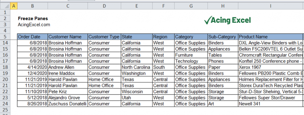 How to Freeze Panes Multiple Rows Excel