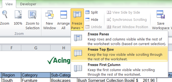 How to Freeze Top Row in Excel