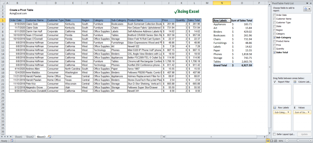 How to create a Pivot Table - Populated field list