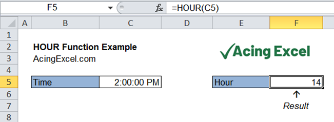 Read more about the article Excel HOUR function